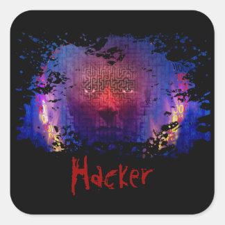 Hackeraufkleber Quadratischer Aufkleber