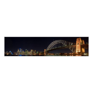 Hafen-Brücke Sydneys Australien am Nachtpanorama Posterdruck