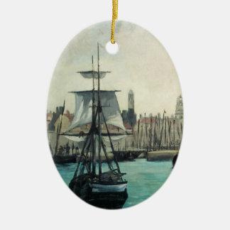 Hafen in Calais durch Manet, Vintage Ovales Keramik Ornament