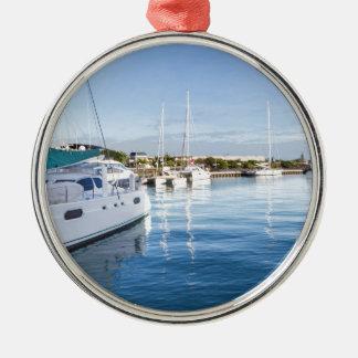 Hafen von Port- LouisHauptstadt von Mauritius Rundes Silberfarbenes Ornament