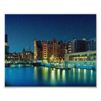 Hafencity Romantik mit Sternen Photo Druck