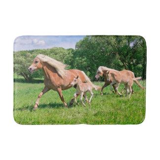 Haflinger Pferde mit niedlichen Fohlen lassen Badematten