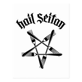 Hagel Seitan 1,2 (Schwarzes) Postkarte