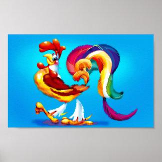Hahn-Cartoon-Miniplakat Poster