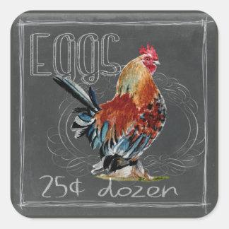 Hahn-Eier auf Tafel Quadratischer Aufkleber