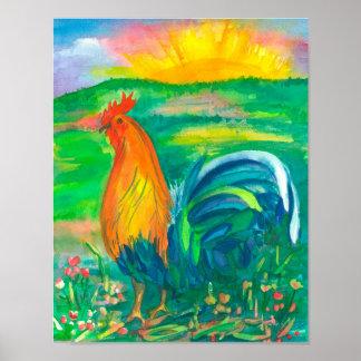 Hahn-Huhn-Aquarell-Malerei Poster