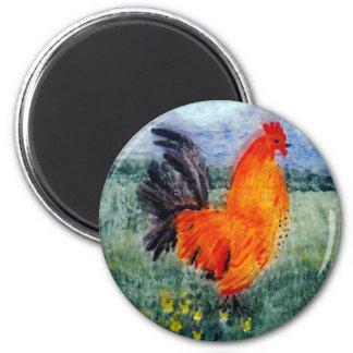 Hahn-Huhn-Kunst Runder Magnet 5,7 Cm