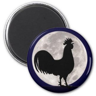 Hahn im Mondschein Runder Magnet 5,1 Cm