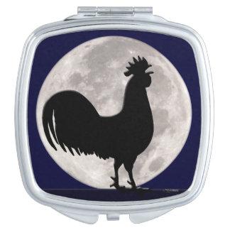Hahn im Mondschein Taschenspiegel