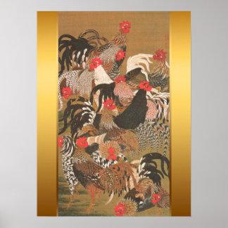 Hahn-japanische Malerei mit goldenem Hintergrund Poster