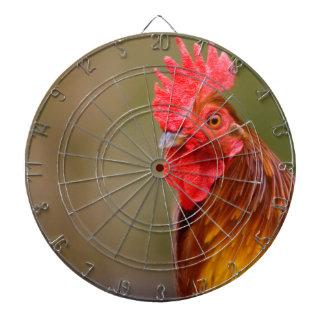 Hahn mit rotem Kamm-Kopf Dartscheibe