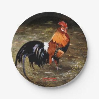 Hahn/Rooster/Gallisch Pappteller 17,8 Cm