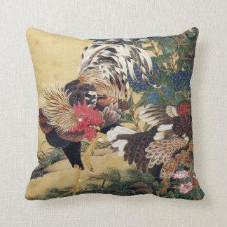 Hahn und Henne mit Hydrangeas Kissen