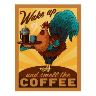 Hahn - wachen Sie auf und riechen Sie den Kaffee Postkarte