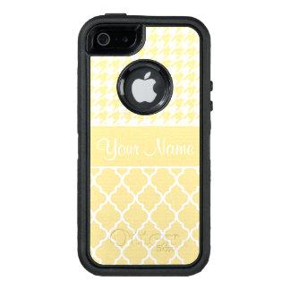 Hahnentrittmuster und Quatrefoil Gelb und Weiß OtterBox iPhone 5/5s/SE Hülle