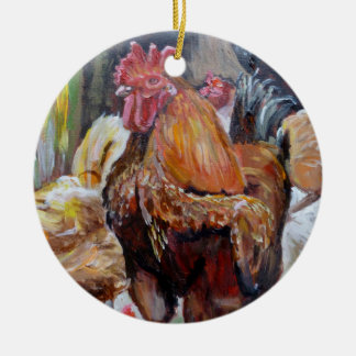 Hahnverzierung Keramik Ornament