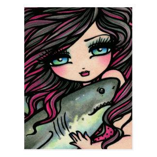 Hai-Meerjungfrau-Fantasie-Kunst-Postkarte Postkarte