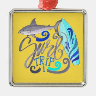 Haifisch-Brandungs-Reise-Sommer-Surfen Silbernes Ornament