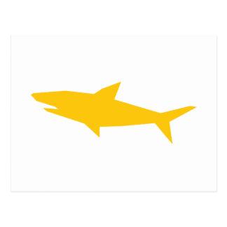 Haifisch-Cartoon-Gelb-Silhouette Postkarte