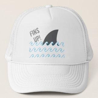 Haifisch-Flossen bewegt oben lustigen Hut Truckerkappe