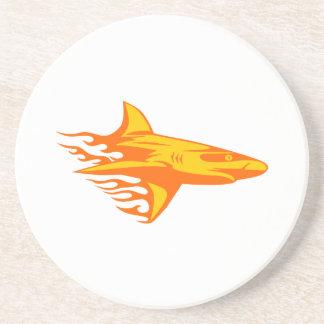 Haifisch in den Flammen Sandstein Untersetzer