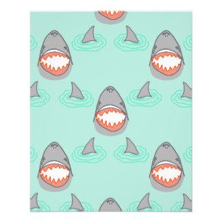 Haifisch-Köpfe u. Flossen im Grau auf Aqua mit 11,4 X 14,2 Cm Flyer