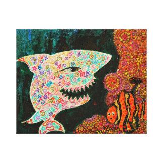 Haifisch/Magie und Clown fischen,/eingewickelte Leinwanddruck