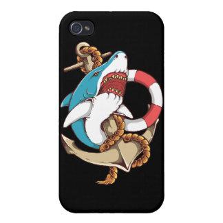 Haifisch mit Anker-Tätowierungs-Art-Kunst iPhone 4 Cover