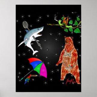 Haifisch, Papagei, Bär und Inchworm im Raum Poster