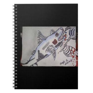 Haifisch/Piranha Spiral Notizblock