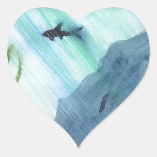 Haifisch-Schwimmen Herz-Aufkleber