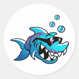 Haifisch, treffen mich am Strand, lustig, Runder Aufkleber