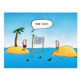 Haifisch-Volleyball-lustige Cartoon-Postkarte Postkarten
