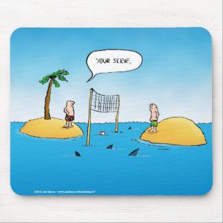 Haifisch-Volleyball-lustiger Cartoon Mauspads