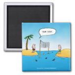 Haifisch-Volleyball-lustiger Cartoon Quadratischer Magnet