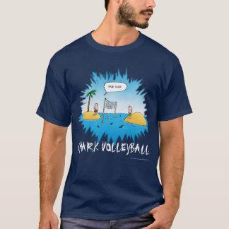 Haifisch-Volleyball-lustiger Cartoon T-Shirt
