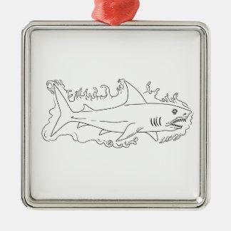 Haifisch-Wasser-Seitenzeichnen Quadratisches Silberfarbenes Ornament