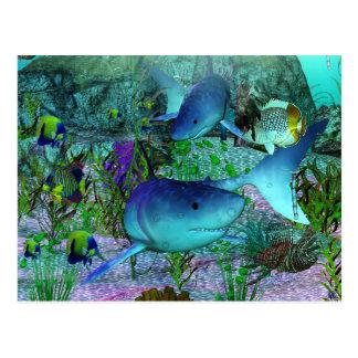 Haifische der Erforschungs-3D Postkarte