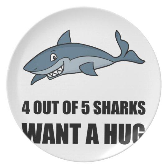 Haifische will Umarmung Teller