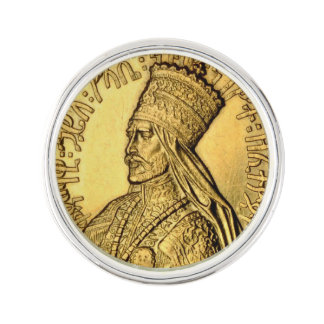 Haile Selassie Revers-Button-alter Goldentwurf Anstecknadel