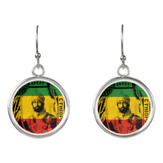 Haile Selassie Splitter überzogene rasta Ohrringe