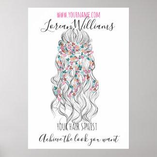 Hairstylingseinbrennen Kranz des gewellten Haares Poster