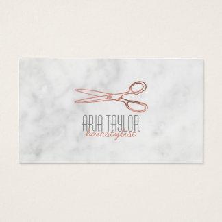 Hairstylist RoseGold Scissors MarmorVisitenkarte Visitenkarte