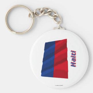 Haiti, das zivile Flagge mit Namen wellenartig Standard Runder Schlüsselanhänger