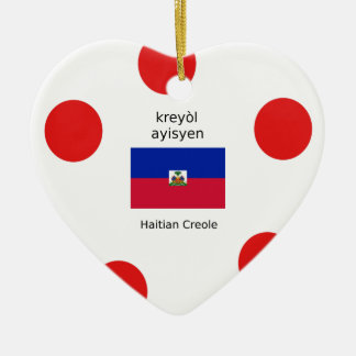 Haitianische Flagge und kreolischer Sprachentwurf Keramik Ornament