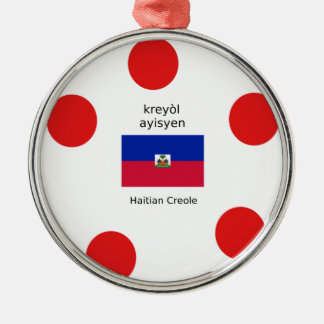 Haitianische Flagge und kreolischer Sprachentwurf Silbernes Ornament