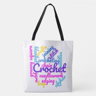 Häkelarbeit-Typografie-färbt abstrakte Wort-Wolke Tasche