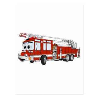 Haken-und Leiter-Feuer-LKW-Cartoon Postkarte
