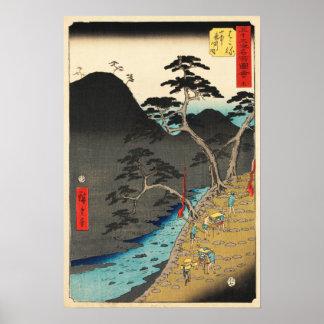 Hakone, Japan: Vintager Woodblock Druck Poster