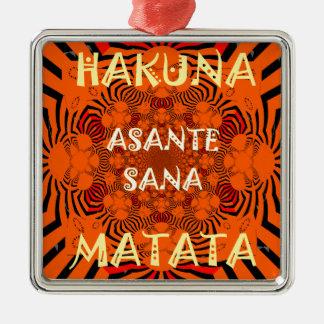 Hakuna Matata einzigartig außergewöhnlich Quadratisches Silberfarbenes Ornament